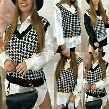 New Womens Dogtooth V Neck Knitted Vest Jumper Sweater Ladies Tank Top Size 8-14
