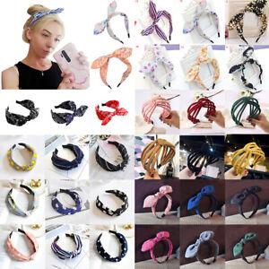 Womens Ladies Boho Bow Headband Cute Twist Knot Cross Wide Floral Print Hairband