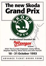 Jimmy White Hand Signed On Front Of Hexagon Advance Ticket Order Form 1993
