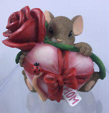 """New listing Charming Tails """"Mom, Your Love Is A Real Gift� Mothers Day Rose & Heart Figurine"""