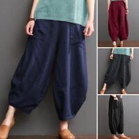 ZANZEA UK Womens Elastic Waist Causal Loose Pants Harem Pants Oversize Trousers