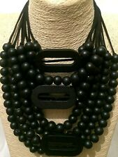 Statement Chunky Long Big Large BLACK Wood Bead Beaded Wooden Necklace Goth