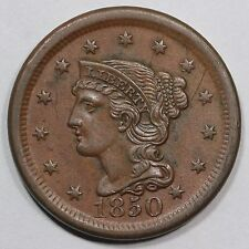 1850 N-5 R-4 Braided Hair Large Cent Coin 1c