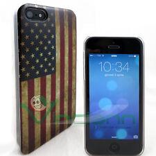 PELLICOLA+Custodia bandiera U.S.A. VINTAGE per iPhone 5 5S cover Stati Uniti