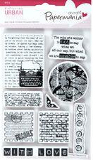 Papermania urban rubber stamp set of 9 Type print Text typewriter postage love