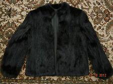 Womens Real Genuine Black Fur Coat Size10 Rabbit Fox Mink? Wonderful except Hem