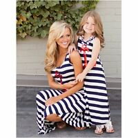 Casual Mother Daughter Dress Summer Family Clothes Striped Womens Girls Sundress