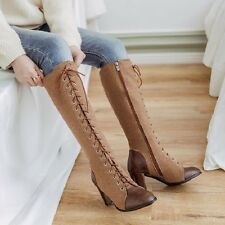 Women Punk Block Heel High Top Lace Up Riding Knee High Boots Party Casual Shoes