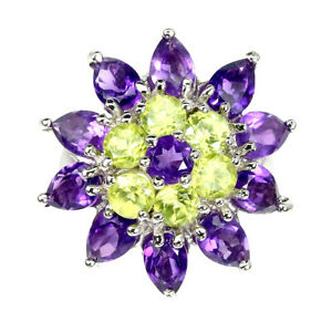 Unheated Pear Amethyst Peridot 14k White Gold Plate 925 Sterling Silver Ring 7
