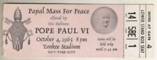 "Pope Paul VI  ""Papal Mass For Peace"" TICKET  October 4, 1965 Yankee Stadium  NYC"