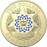 2019 $2 Dollar Coloured Coin POLICE REMEMBRANCE - UNCIRCULATED From Roll