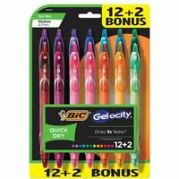 BIC Gelocity Quick Dry Retractable Fashion Gel Pen, Medium Point (0.7 mm), 14-Ct