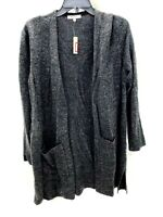 Madewell Womens Size Medium Gray Speck Cardigan Sweater Merino Wool Open Front