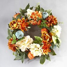 Lighted Autumn Wreath with Pumpkins and Fall Flowers in Orange and White