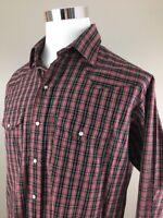 Men's Plaid Pearl Snap Long Sleeve Shirt by American Legend XL 17 1/2 33/34