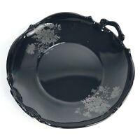 Vintage L.E. Smith Mt Pleasant Black Amethyst & Silver Handled Serving Bowl Dish
