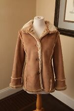 Faux Fur Faux Suede Women's Winter Coat Jacket Size M Tan Beige Fuda