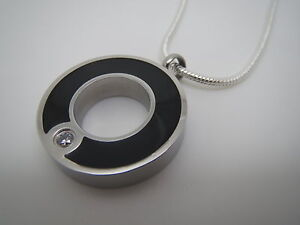 """CREMATION JEWELLERY URN PENDANT NECKLACE """"BLACK & STEEL HOOP WITH STONE"""""""