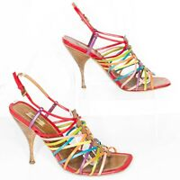 Prada Womens Heels Multicolor Caged Strappy Colorful Stiletto Size 6.5 6 1/2  AF