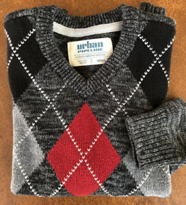 URBAN PIPELINE V-NECK PULLOVER SWEATER ARGYLE Diamond BLACK GRAY Red BOYS Small