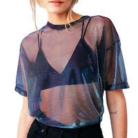 Women Girls Mesh Sheer Crop Top Short Sleeve Transparent T-Shirt Blouse Tee Tops