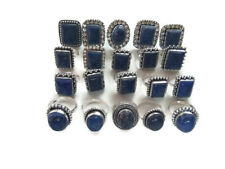 Bulk Price Lot !! 20 PCs. Blue LAPIS LAZULI 925 Sterling Silver Plated Ring