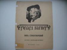 Vintage Partituras puntuación Wagner: cinco poemas Moscú 1966