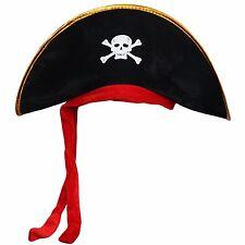 Gli adulti Halloween Pirata Teschio e Ossa Incrociate Jolly Roger MARE NAVE CAPTAIN Hat Cap