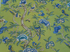 Thibaut Fabric 'Giselle' Green 2.75 METRES (275cm) Linen Blend - Imperial Garden