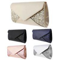 Womens Wedding Glitter Shimmering Envelope Clutch Bag Bridal Prom Purse