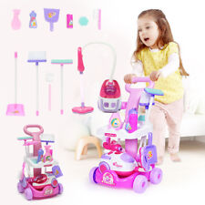 Kids Pretend Play Cleaning Trolley Set Broom Mop Bucket Tools Duster