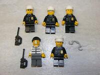 5 LEGO City Police & Jail Prisoner Minifigures Criminal Suit Blue Tie Badge Men