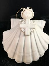 "MARGARET FURLONG Sea Shell Angel Cross 3"" 1993 Christmas Ornament"