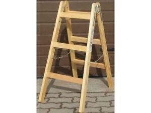 Malerleiter 2x (3-7 Sprossen) Holzleiter Malertritt Tritt Bock Leiter Holz
