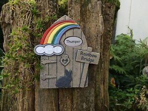 Personalised Rainbow Bridge Memorial Stone Door Rabbit Outline Design Garden