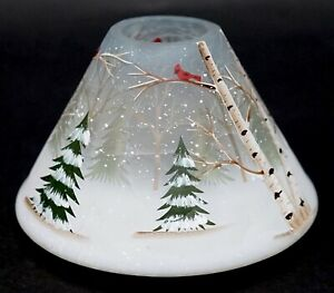 New Yankee Candle Winter Birch Forest Crackle Glass Large Jar Shade