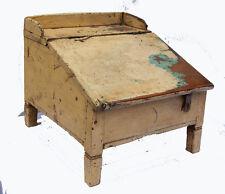 Coffre pupitre Petit vintage Vieux Teck Patine Origine 39x48x37cm Artisanat Inde