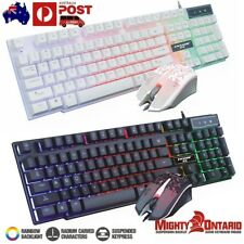 Rainbow Backlight Usb Ergonomic Gaming Keyboard and Mouse Set for PC Laptop LOL