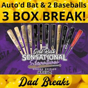 CINCINNATI REDS 2021 Gold Rush Signed Bat + 2 TriStar Baseballs: 3 BOX BREAK