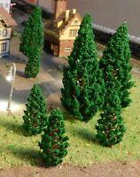 10 dunkelgrüne Tannen, Nadelbäume, je 5 Stück 58 und 95 mm hoch