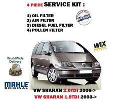 FÜR VW SHARAN 1.9TDi 2.0 TDi 2003-> Öl Luft Benzin POLLEN 4 FILTER SERVICE KIT