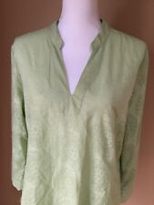 Bass Light Green Size Large Pullover Top, Light Patterned Fabric
