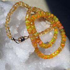 facettierte kette äthiopien feueropal, opal mit citrin  honig-gelb-orange, 4-6mm