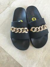 Catherine Malandrino Size 9 Sliders Black With Gold Chain Rhinestones