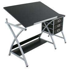 MDF Drafting Table Drawing Desk Art Hobby Folding Adjustable w/ Stool & Drawers