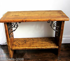 RUSTIC SOLID WOOD & CAST IRON SHABBY CHIC CONSOLE TABLE / SIDE TABLE