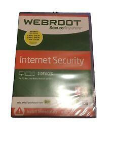 DVD WEBROOT Secure Anywhere Internet Security with Antivirus 2017 USA ios new