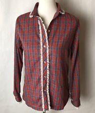 Vintage Plaid Lace Trim Button Up Jc Penny Christmas Plaid Shirt No Tag