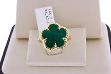 14K Yellow Gold Women Genuine Natural Green Malachite Stone Flower Ring Size 6.5