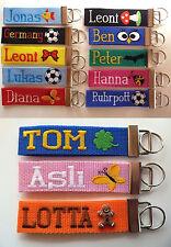 Schlüsselanhänger Schlüsselband mit Wunschnamen bestickte Anhänger Fußball Katze